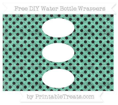 Free Aquamarine Polka Dot Chalk Style DIY Water Bottle Wrappers