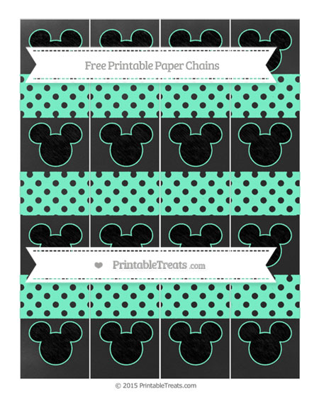Free Aquamarine Polka Dot Chalk Style Mickey Mouse Paper Chains
