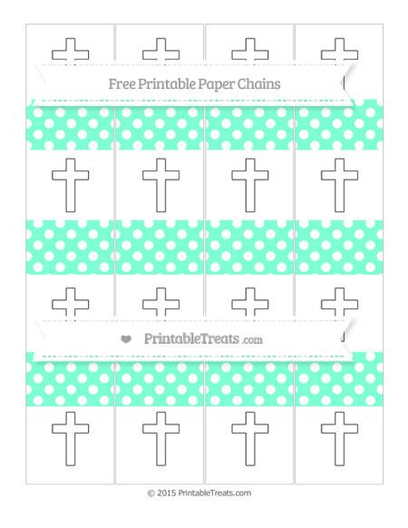 Free Aquamarine Polka Dot Cross Paper Chains