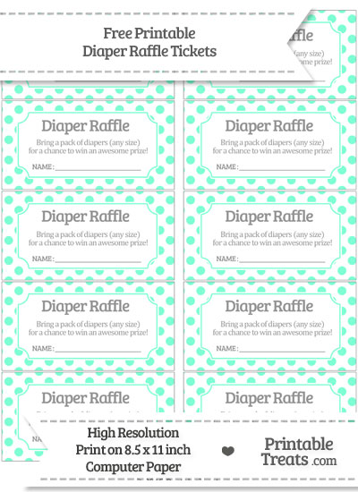 Free Aquamarine Polka Dot Diaper Raffle Tickets