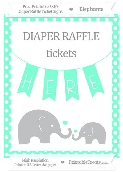 Free Aquamarine Polka Dot Elephant 8x10 Diaper Raffle Ticket Sign