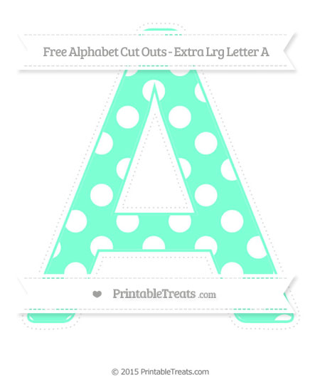 Free Aquamarine Polka Dot Extra Large Capital Letter A Cut Outs