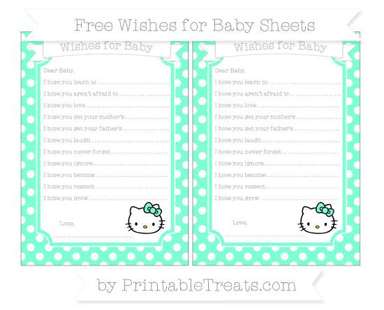 Free Aquamarine Polka Dot Hello Kitty Wishes for Baby Sheets
