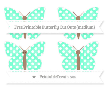 Free Aquamarine Polka Dot Medium Butterfly Cut Outs