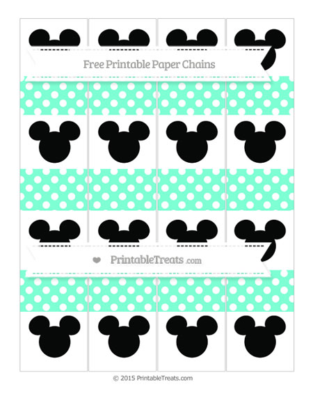 Free Aquamarine Polka Dot Mickey Mouse Paper Chains