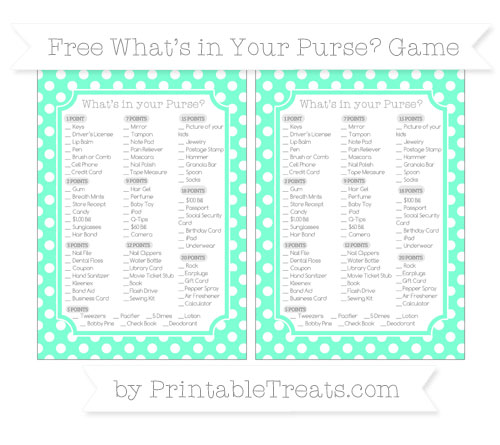 Free Aquamarine Polka Dot What's in Your Purse Baby Shower Game