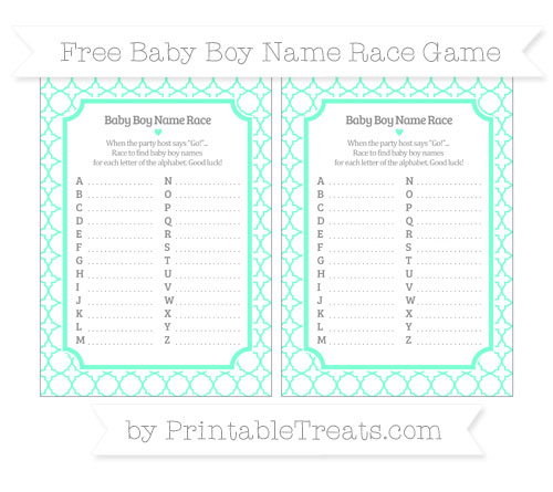 Free Aquamarine Quatrefoil Pattern Baby Boy Name Race Game