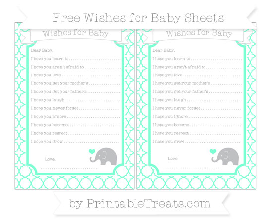Free Aquamarine Quatrefoil Pattern Baby Elephant Wishes for Baby Sheets