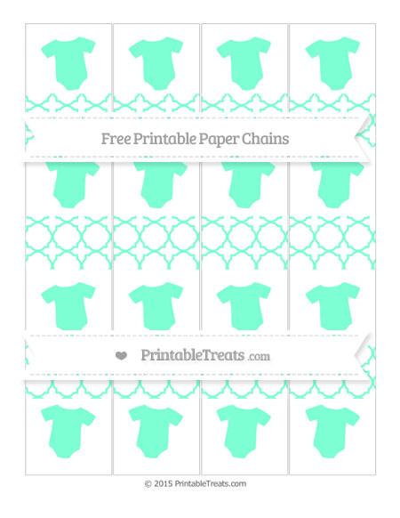 Free Aquamarine Quatrefoil Pattern Baby Onesie Paper Chains