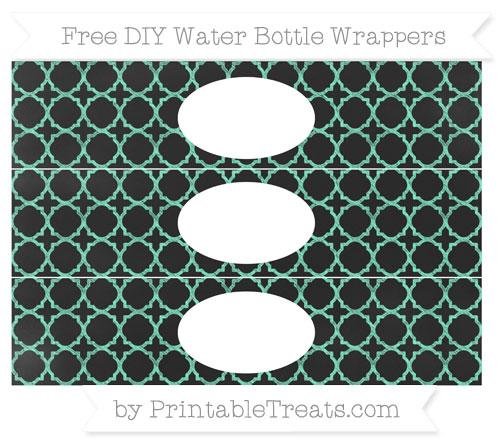 Free Aquamarine Quatrefoil Pattern Chalk Style DIY Water Bottle Wrappers