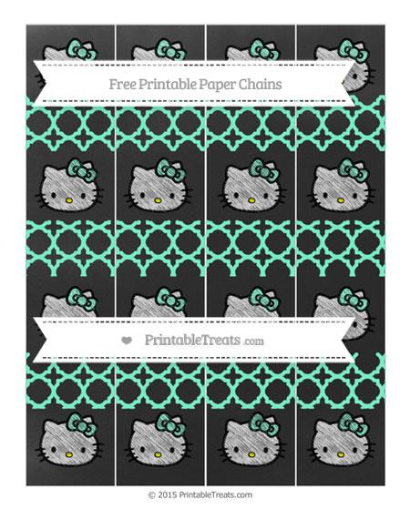 Free Aquamarine Quatrefoil Pattern Chalk Style Hello Kitty Paper Chains