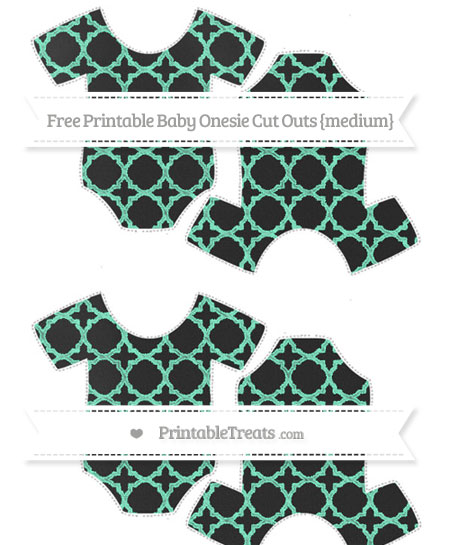 Free Aquamarine Quatrefoil Pattern Chalk Style Medium Baby Onesie Cut Outs