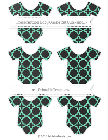 Free Aquamarine Quatrefoil Pattern Chalk Style Small Baby Onesie Cut Outs