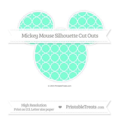 Free Aquamarine Quatrefoil Pattern Extra Large Mickey Mouse Silhouette Cut Outs
