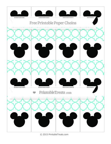 Free Aquamarine Quatrefoil Pattern Mickey Mouse Paper Chains