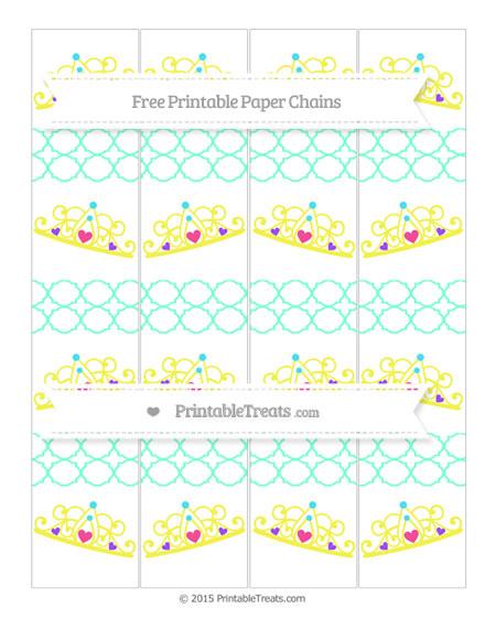 Free Aquamarine Quatrefoil Pattern Princess Tiara Paper Chains