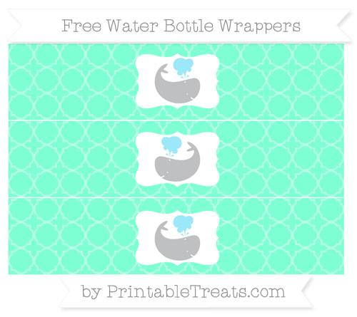 Free Aquamarine Quatrefoil Pattern Whale Water Bottle Wrappers