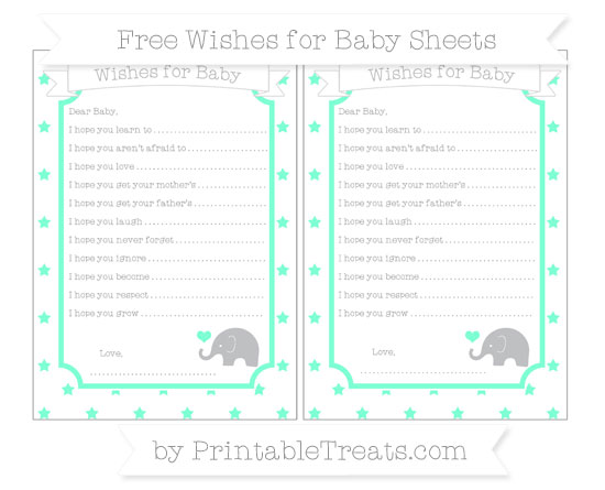 Free Aquamarine Star Pattern Baby Elephant Wishes for Baby Sheets
