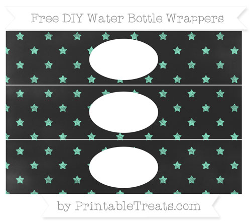 Free Aquamarine Star Pattern Chalk Style DIY Water Bottle Wrappers