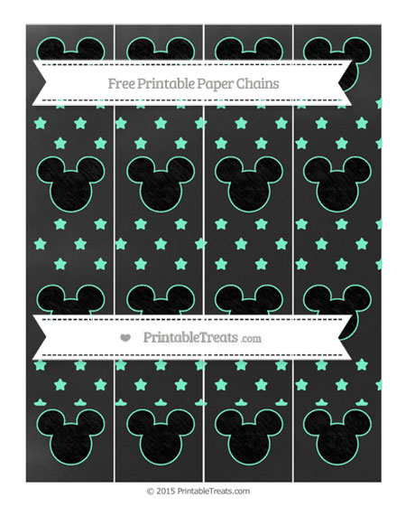 Free Aquamarine Star Pattern Chalk Style Mickey Mouse Paper Chains
