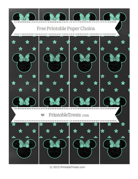Free Aquamarine Star Pattern Chalk Style Minnie Mouse Paper Chains