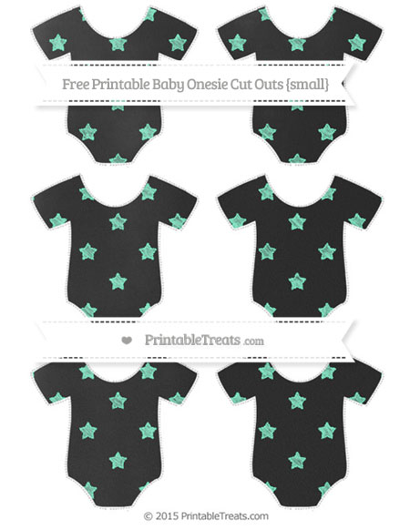 Free Aquamarine Star Pattern Chalk Style Small Baby Onesie Cut Outs