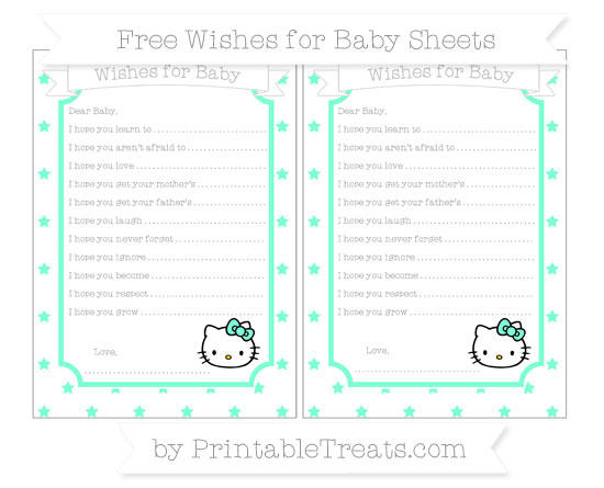 Free Aquamarine Star Pattern Hello Kitty Wishes for Baby Sheets