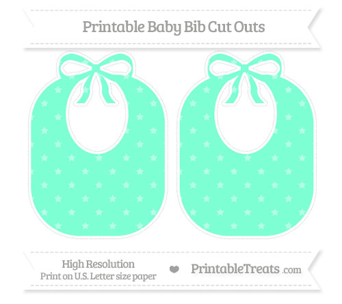 Free Aquamarine Star Pattern Large Baby Bib Cut Outs