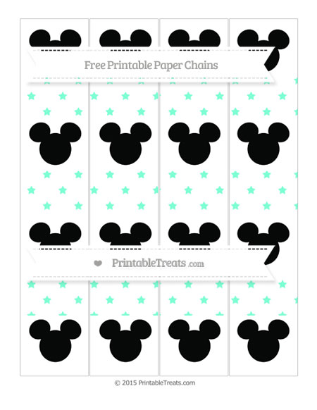 Free Aquamarine Star Pattern Mickey Mouse Paper Chains