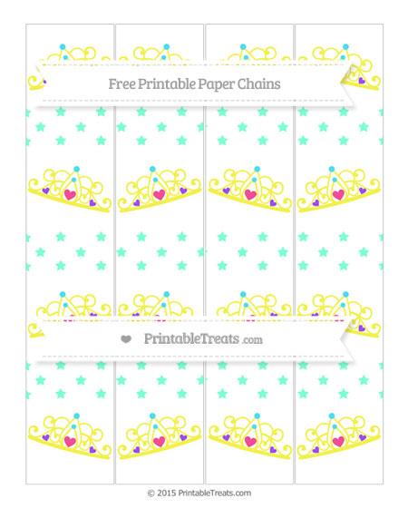 Free Aquamarine Star Pattern Princess Tiara Paper Chains