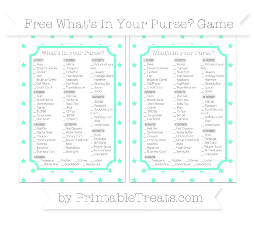 Free Aquamarine Star Pattern What's in Your Purse Baby Shower Game