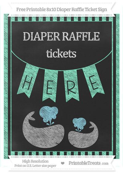 Free Aquamarine Striped Chalk Style Baby Whale 8x10 Diaper Raffle Ticket Sign