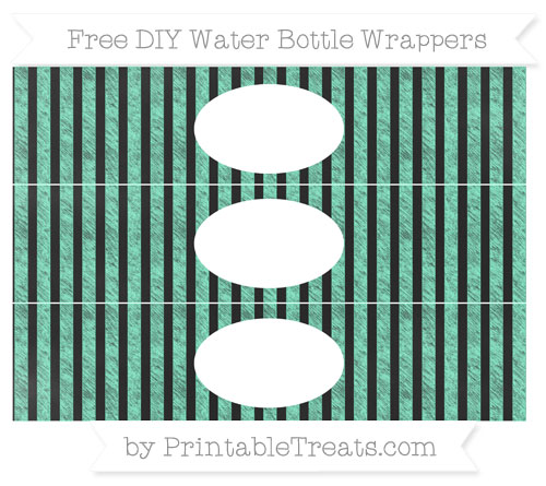 Free Aquamarine Striped Chalk Style DIY Water Bottle Wrappers