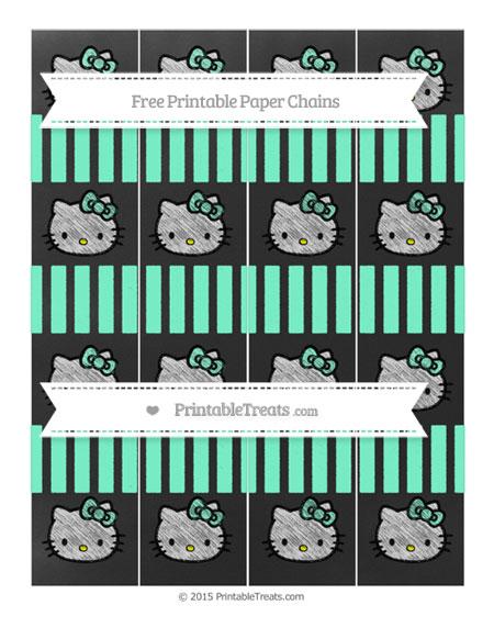 Free Aquamarine Striped Chalk Style Hello Kitty Paper Chains