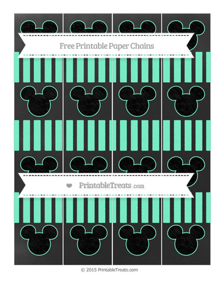Free Aquamarine Striped Chalk Style Mickey Mouse Paper Chains