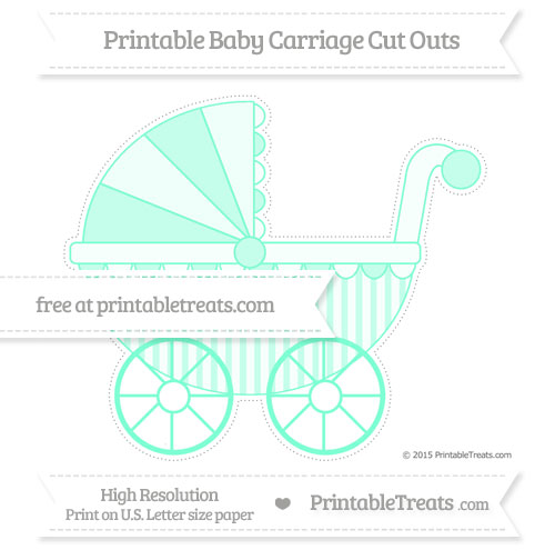Free Aquamarine Striped Extra Large Baby Carriage Cut Outs
