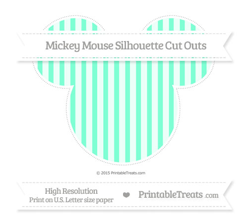 Free Aquamarine Striped Extra Large Mickey Mouse Silhouette Cut Outs
