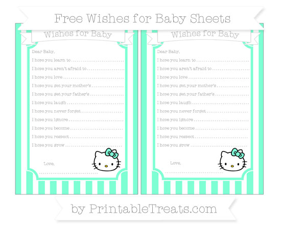 Free Aquamarine Striped Hello Kitty Wishes for Baby Sheets