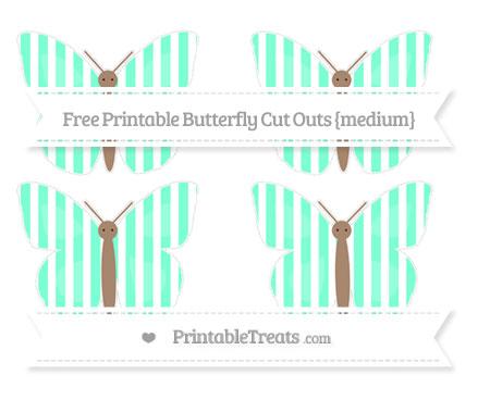 Free Aquamarine Striped Medium Butterfly Cut Outs