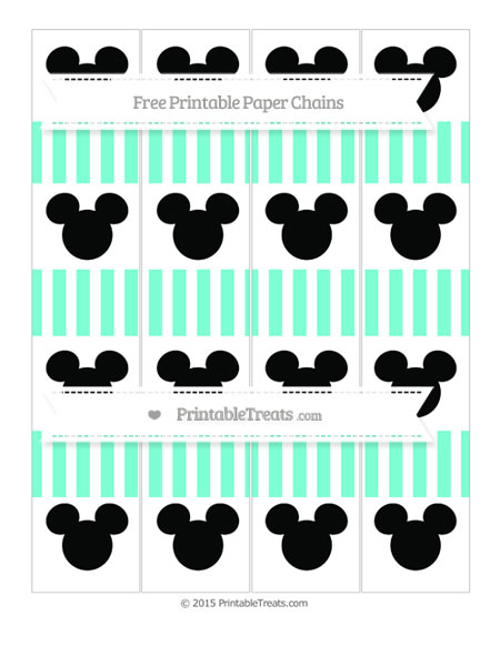 Free Aquamarine Striped Mickey Mouse Paper Chains