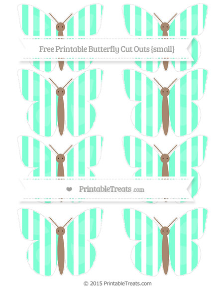 Free Aquamarine Striped Small Butterfly Cut Outs