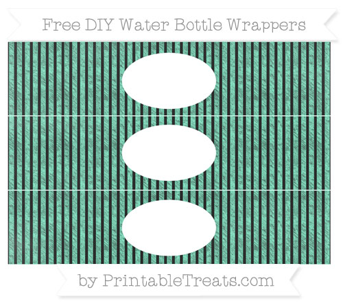 Free Aquamarine Thin Striped Pattern Chalk Style DIY Water Bottle Wrappers