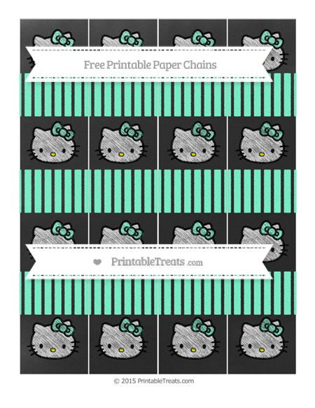 Free Aquamarine Thin Striped Pattern Chalk Style Hello Kitty Paper Chains