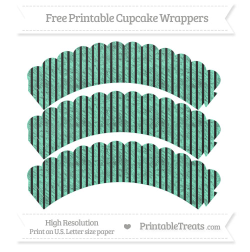 Free Aquamarine Thin Striped Pattern Chalk Style Scalloped Cupcake Wrappers