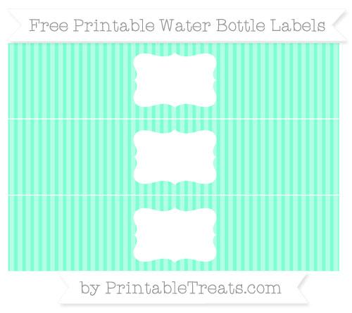 Free Aquamarine Thin Striped Pattern Water Bottle Labels