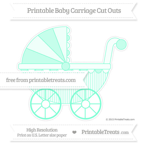 Free Aquamarine Thin Striped Pattern Extra Large Baby Carriage Cut Outs