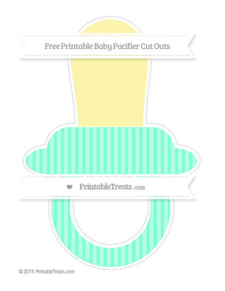 Free Aquamarine Thin Striped Pattern Extra Large Baby Pacifier Cut Outs