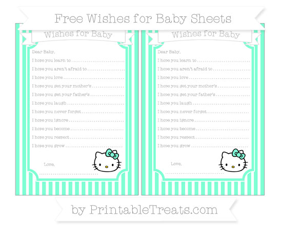 Free Aquamarine Thin Striped Pattern Hello Kitty Wishes for Baby Sheets