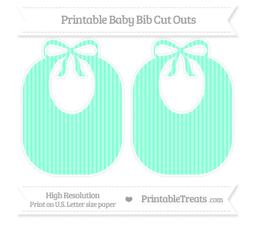 Free Aquamarine Thin Striped Pattern Large Baby Bib Cut Outs