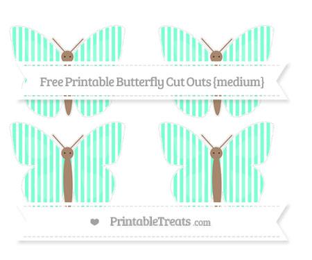 Free Aquamarine Thin Striped Pattern Medium Butterfly Cut Outs